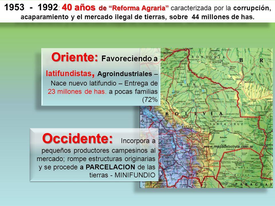 40 años de Reforma Agraria 1953 - 1992 : 40 años de Reforma Agraria caracterizada por la corrupción, acaparamiento y el mercado ilegal de tierras, sobre 44 millones de has.