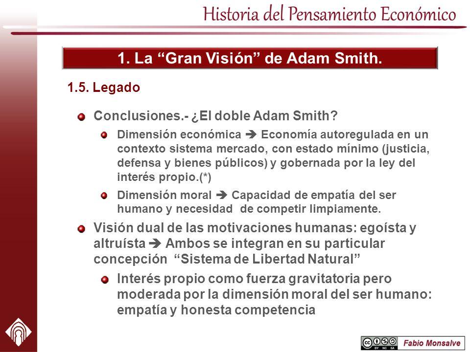 1. La Gran Visión de Adam Smith. 1.5. Legado Conclusiones.- ¿El doble Adam Smith? Dimensión económica Economía autoregulada en un contexto sistema mer