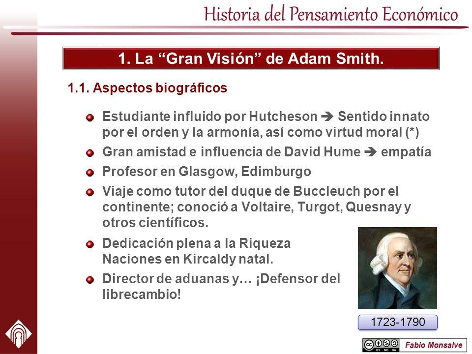 1. La Gran Visión de Adam Smith. 1.1. Aspectos biográficos Estudiante influido por Hutcheson Sentido innato por el orden y la armonía, así como virtud