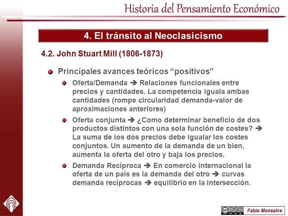 4. El tránsito al Neoclasicismo Principales avances teóricos positivos Oferta/Demanda Relaciones funcionales entre precios y cantidades. La competenci