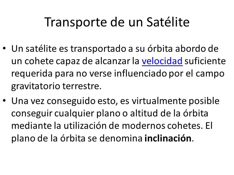 Transporte de un Satélite Un satélite es transportado a su órbita abordo de un cohete capaz de alcanzar la velocidad suficiente requerida para no vers