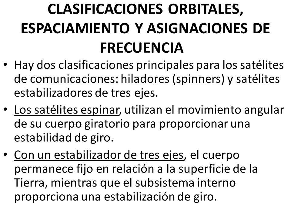 CLASIFICACIONES ORBITALES, ESPACIAMIENTO Y ASIGNACIONES DE FRECUENCIA Hay dos clasificaciones principales para los satélites de comunicaciones: hilado