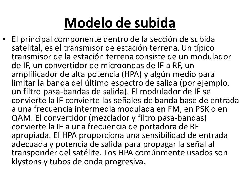 Modelo de subida El principal componente dentro de la sección de subida satelital, es el transmisor de estación terrena. Un típico transmisor de la es