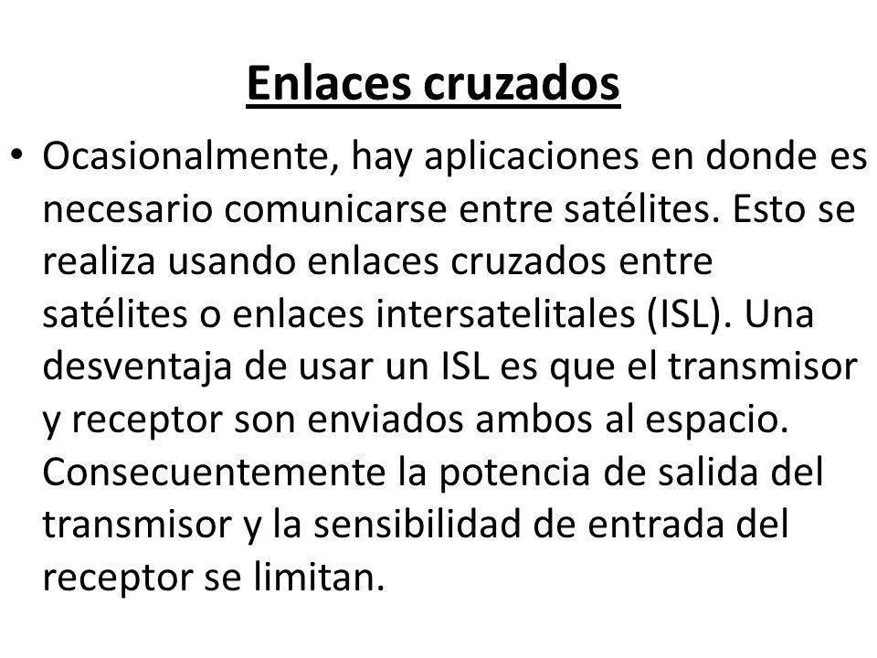 Enlaces cruzados Ocasionalmente, hay aplicaciones en donde es necesario comunicarse entre satélites. Esto se realiza usando enlaces cruzados entre sat
