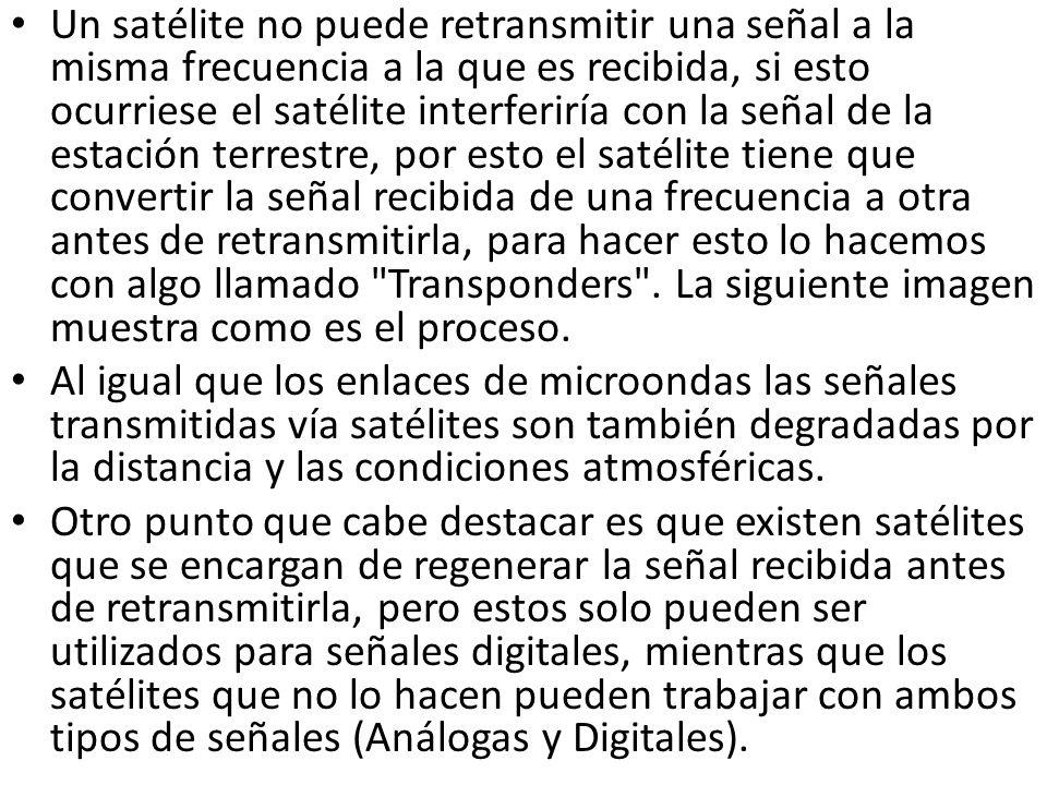Un satélite no puede retransmitir una señal a la misma frecuencia a la que es recibida, si esto ocurriese el satélite interferiría con la señal de la