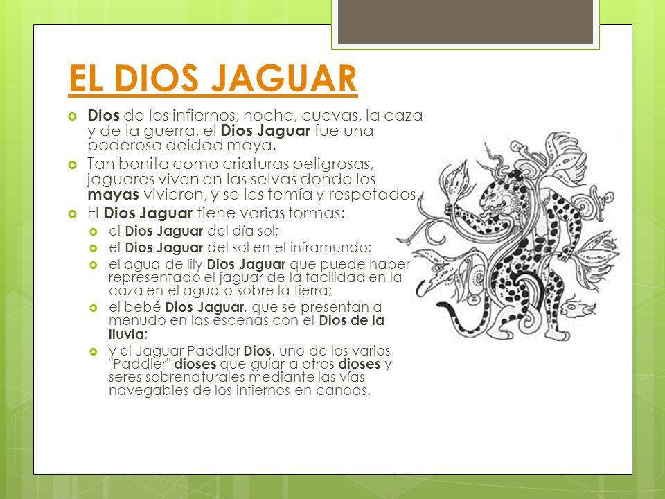 EL DIOS JAGUAR Dios de los infiernos, noche, cuevas, la caza y de la guerra, el Dios Jaguar fue una poderosa deidad maya. Tan bonita como criaturas pe