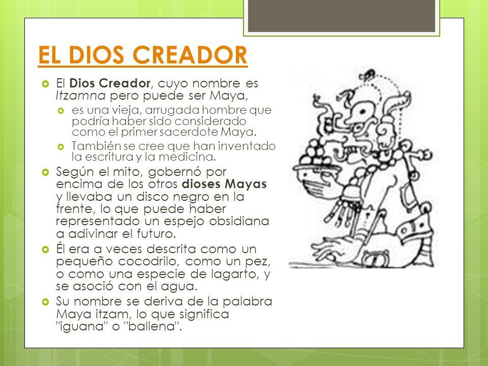 EL DIOS CREADOR El Dios Creador, cuyo nombre es Itzamna pero puede ser Maya, es una vieja, arrugada hombre que podría haber sido considerado como el p