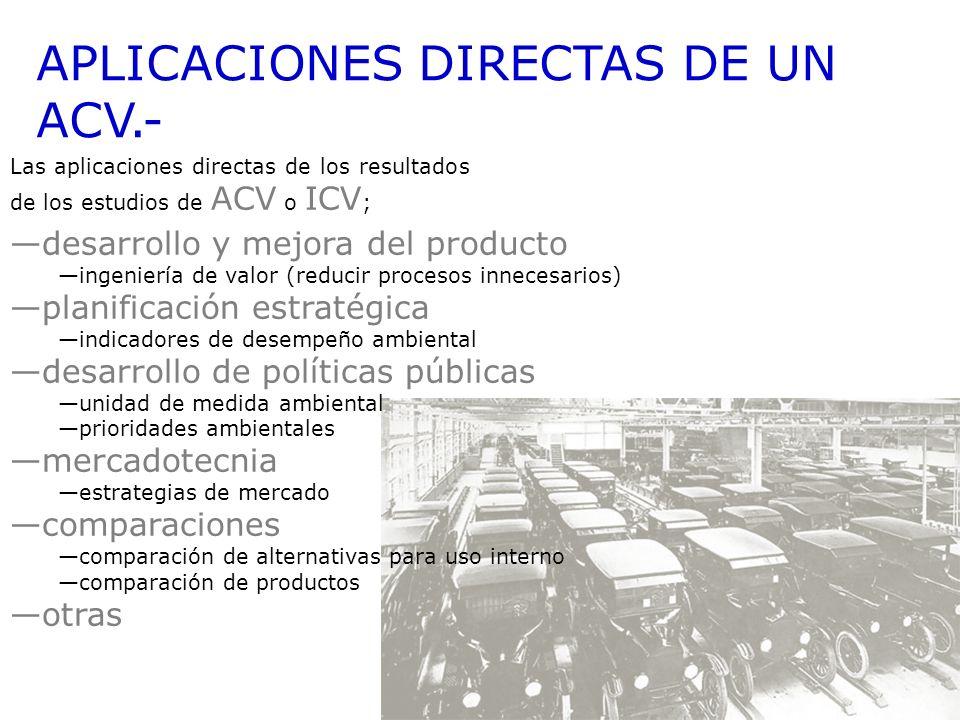 APLICACIONES DIRECTAS DE UN ACV.- Las aplicaciones directas de los resultados de los estudios de ACV o ICV ; desarrollo y mejora del producto ingenier