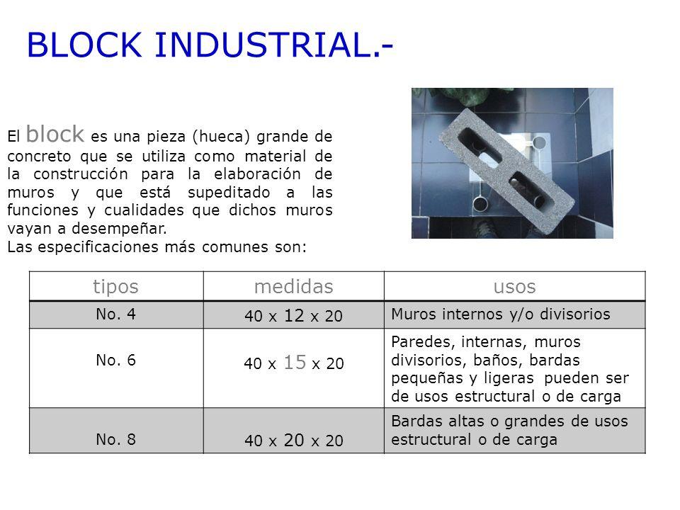BLOCK INDUSTRIAL.- El block es una pieza (hueca) grande de concreto que se utiliza como material de la construcción para la elaboración de muros y que
