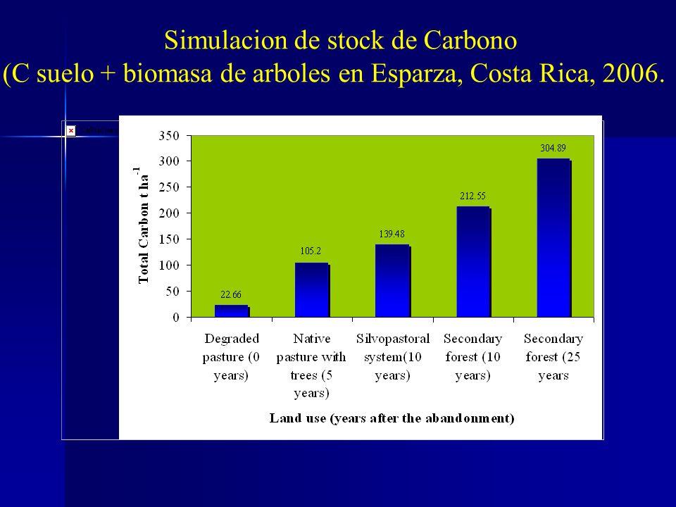 Simulacion de stock de Carbono (C suelo + biomasa de arboles en Esparza, Costa Rica, 2006.