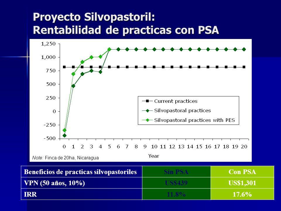 Proyecto Silvopastoril: Rentabilidad de practicas con PSA Beneficios de practicas silvopastorilesSin PSACon PSA VPN (50 años, 10%)US$439US$1,301 IRR11
