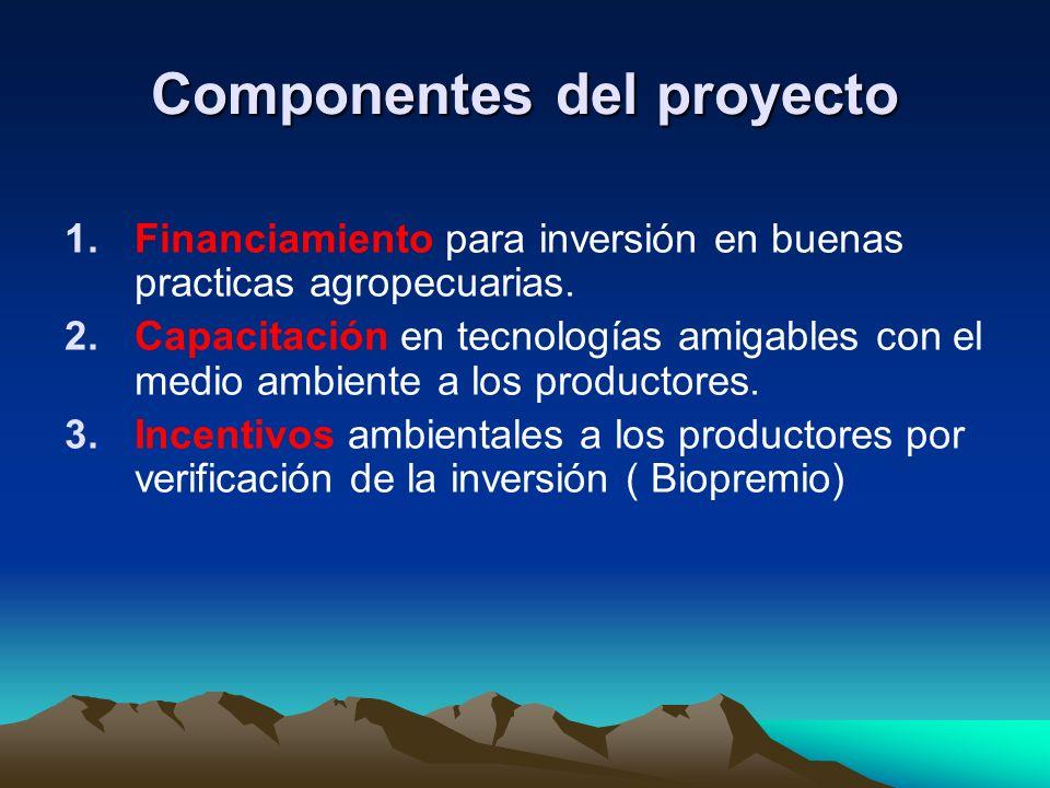 Componentes del proyecto 1.Financiamiento para inversión en buenas practicas agropecuarias. 2.Capacitación en tecnologías amigables con el medio ambie