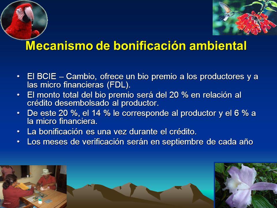 Mecanismo de bonificación ambiental El BCIE – Cambio, ofrece un bio premio a los productores y a las micro financieras (FDL).El BCIE – Cambio, ofrece