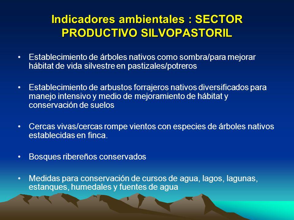 Indicadores ambientales : SECTOR PRODUCTIVO SILVOPASTORIL Establecimiento de árboles nativos como sombra/para mejorar hábitat de vida silvestre en pas