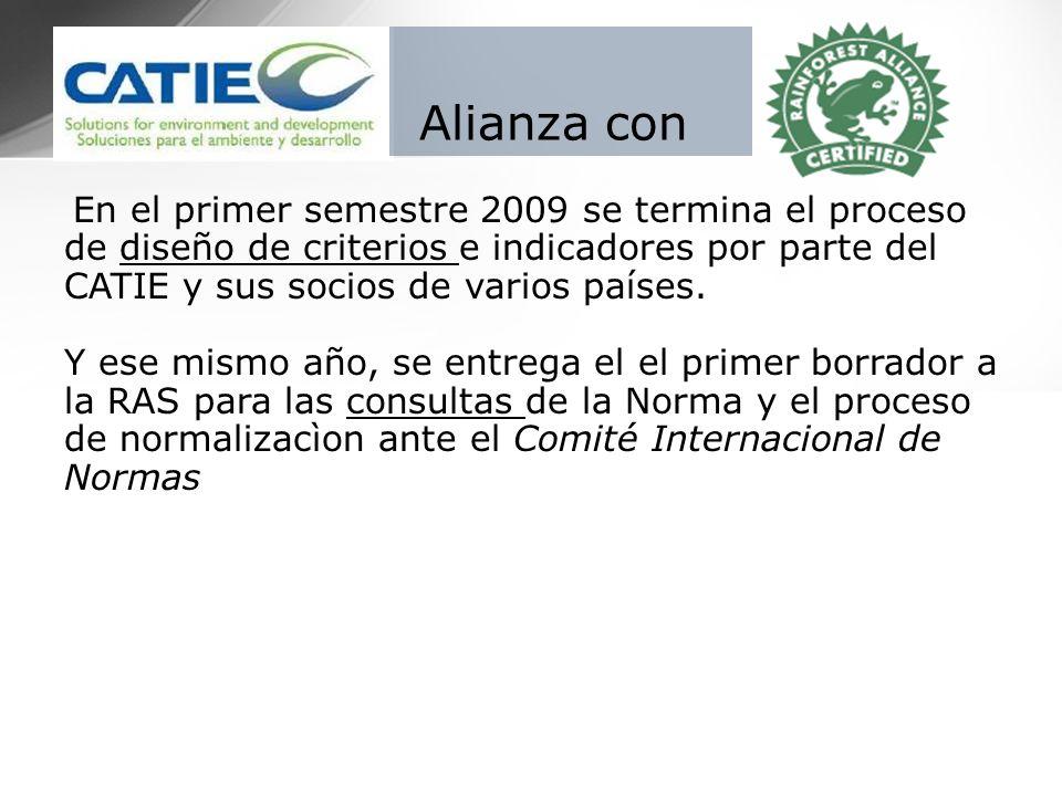 En el primer semestre 2009 se termina el proceso de diseño de criterios e indicadores por parte del CATIE y sus socios de varios países. Y ese mismo a