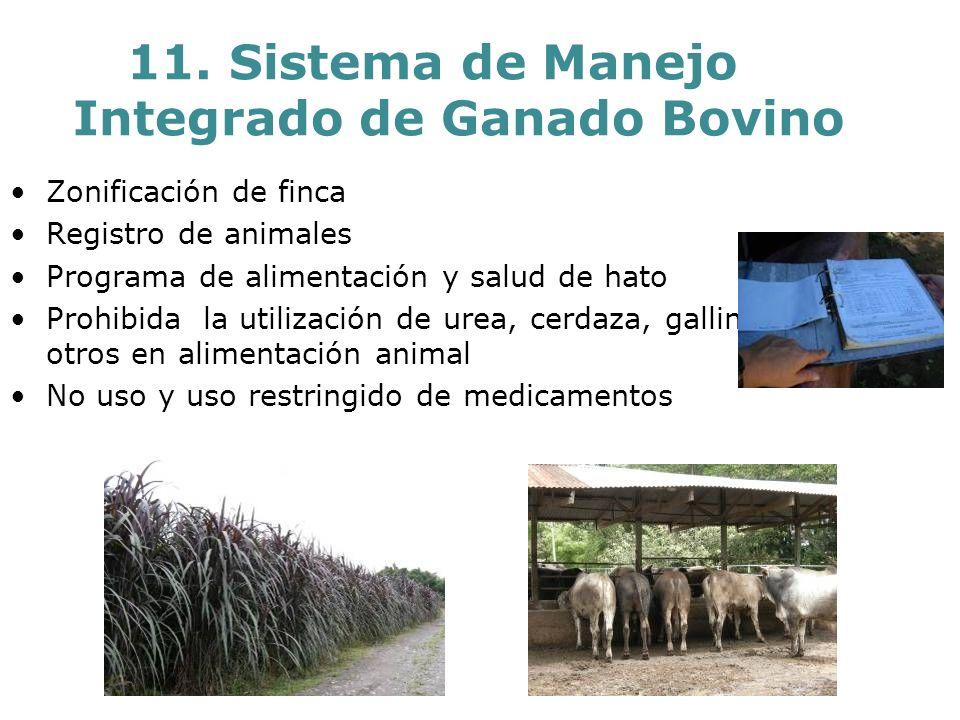 11. Sistema de Manejo Integrado de Ganado Bovino Zonificación de finca Registro de animales Programa de alimentación y salud de hato Prohibida la util