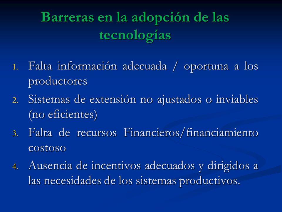 Barreras en la adopción de las tecnologías 1. Falta información adecuada / oportuna a los productores 2. Sistemas de extensión no ajustados o inviable