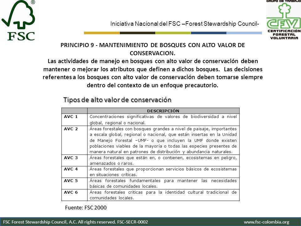 Iniciativa Nacional del FSC –Forest Stewardship Council- FSC Forest Stewardship Council, A.C. All rights reserved. FSC-SECR-0002www.fsc-colombia.org D