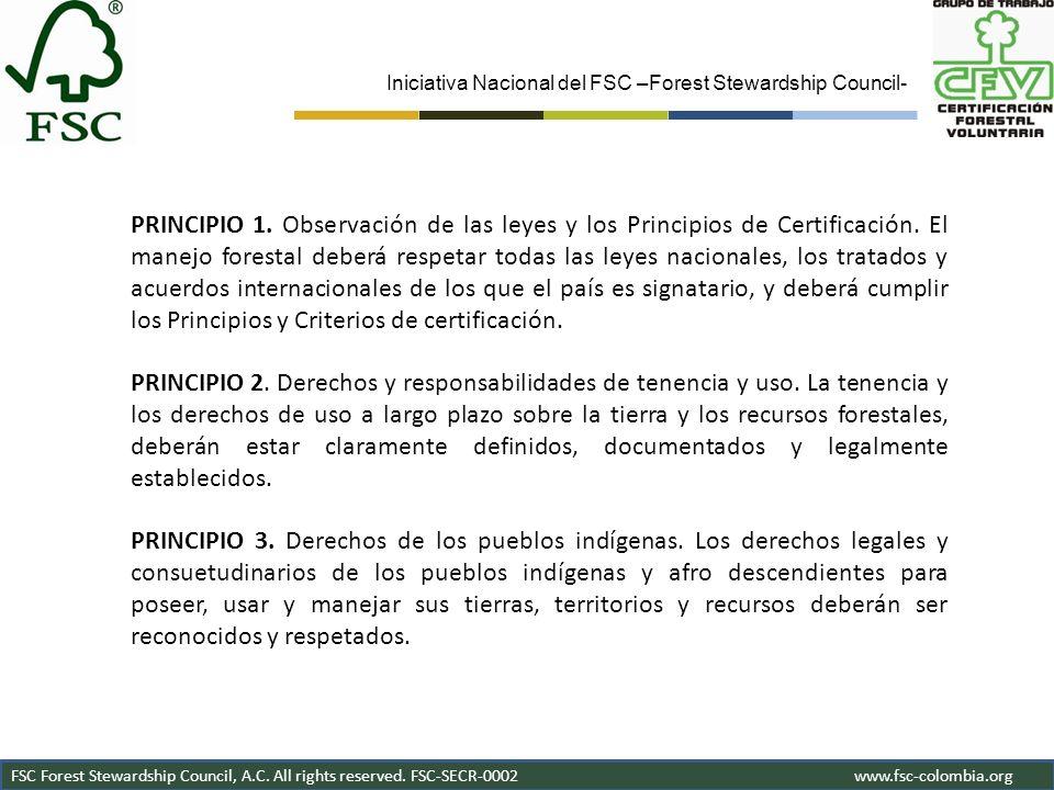 Iniciativa Nacional del FSC –Forest Stewardship Council- FSC Forest Stewardship Council, A.C. All rights reserved. FSC-SECR-0002www.fsc-colombia.org G