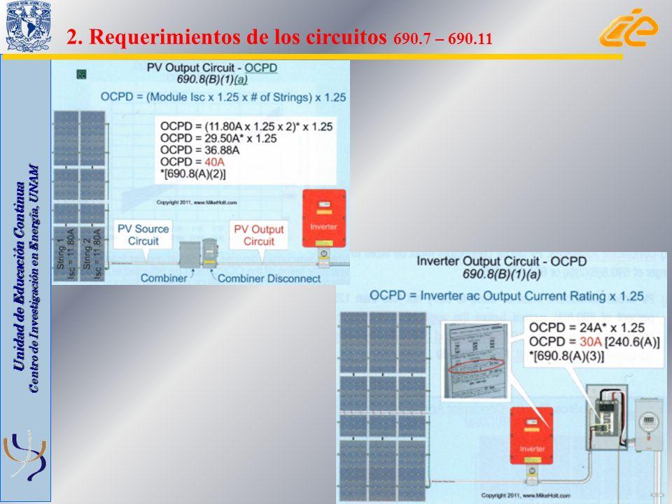 Unidad de Educación Continua Centro de Investigación en Energía, UNAM 2. Requerimientos de los circuitos 690.7 – 690.11