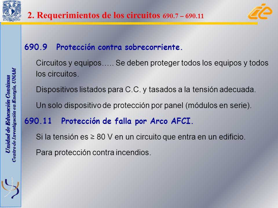 Unidad de Educación Continua Centro de Investigación en Energía, UNAM 690.9 Protección contra sobrecorriente. Circuitos y equipos….. Se deben proteger