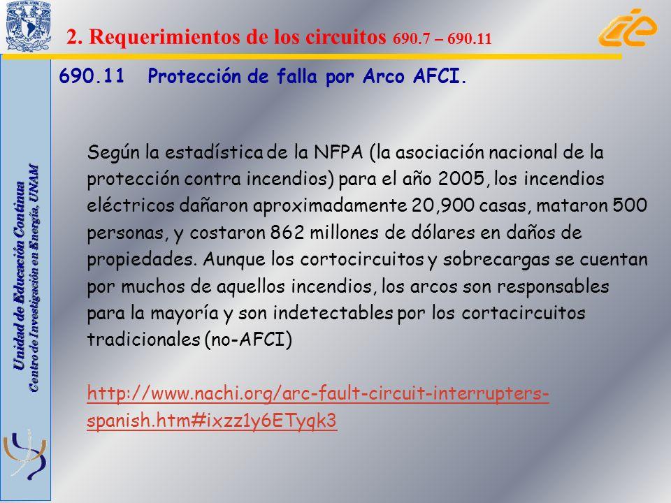Unidad de Educación Continua Centro de Investigación en Energía, UNAM 690.11 Protección de falla por Arco AFCI. Según la estadística de la NFPA (la as