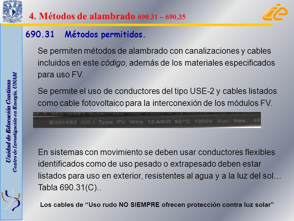 Unidad de Educación Continua Centro de Investigación en Energía, UNAM 690.31 Métodos permitidos. Se permiten métodos de alambrado con canalizaciones y