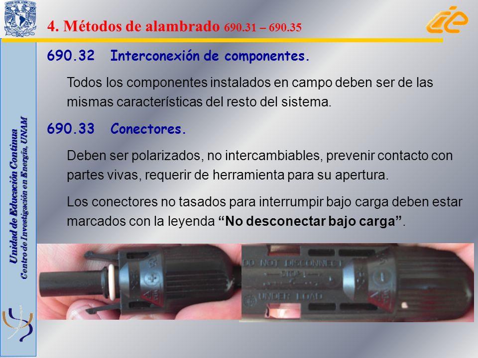 Unidad de Educación Continua Centro de Investigación en Energía, UNAM 690.32 Interconexión de componentes. Todos los componentes instalados en campo d