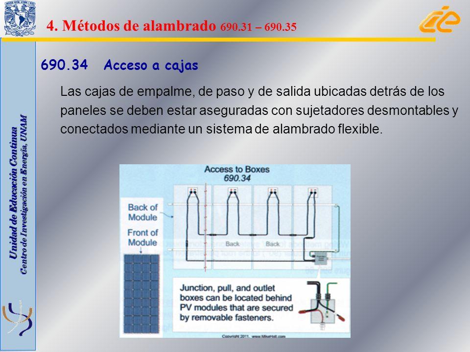 Unidad de Educación Continua Centro de Investigación en Energía, UNAM 690.34 Acceso a cajas Las cajas de empalme, de paso y de salida ubicadas detrás