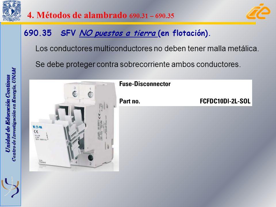 Unidad de Educación Continua Centro de Investigación en Energía, UNAM 690.35 SFV NO puestos a tierra (en flotación). Los conductores multiconductores