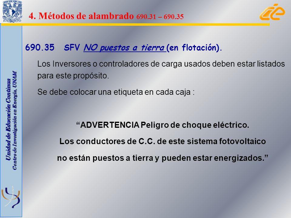 Unidad de Educación Continua Centro de Investigación en Energía, UNAM 690.35 SFV NO puestos a tierra (en flotación). Los Inversores o controladores de