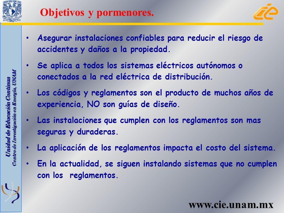 Unidad de Educación Continua Centro de Investigación en Energía, UNAM www.cie.unam.mx El Código Eléctrico Nacional (NEC 2011) es un documento publicado por la Asociación Nacional para la Protección contra el Fuego (NFPA).