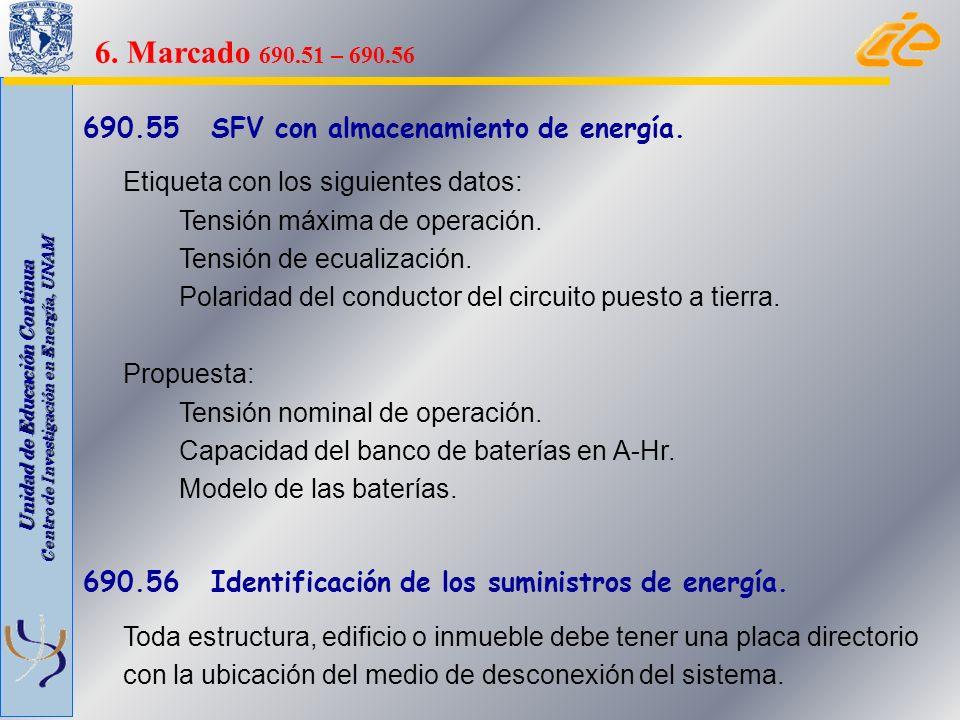 Unidad de Educación Continua Centro de Investigación en Energía, UNAM 690.55 SFV con almacenamiento de energía. Etiqueta con los siguientes datos: Ten