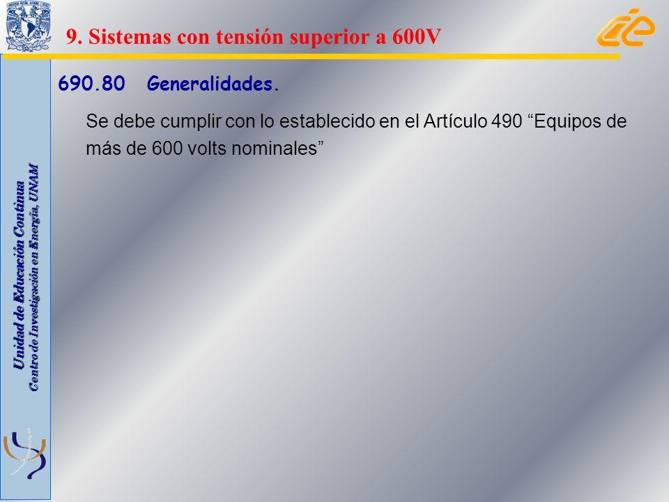 Unidad de Educación Continua Centro de Investigación en Energía, UNAM 690.80 Generalidades. Se debe cumplir con lo establecido en el Artículo 490 Equi