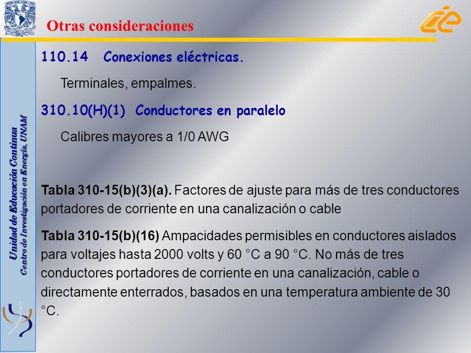 Unidad de Educación Continua Centro de Investigación en Energía, UNAM 110.14 Conexiones eléctricas. Terminales, empalmes. 310.10(H)(1) Conductores en