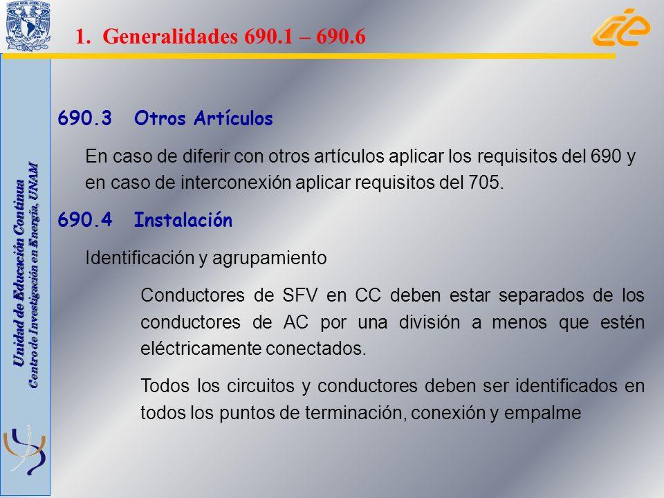 Unidad de Educación Continua Centro de Investigación en Energía, UNAM 690.3 Otros Artículos En caso de diferir con otros artículos aplicar los requisi