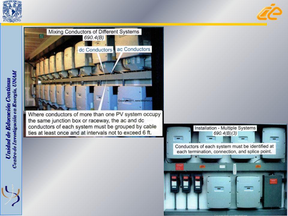 Unidad de Educación Continua Centro de Investigación en Energía, UNAM 690.4 Instalación Organización de las conexiones a los módulos Quitar un módulo no debe interrumpir la continuidad de algún conductor puesto a tierra Equipos Listados Directorios de fuentes de generación en medios de desconexión tanto de C.C.