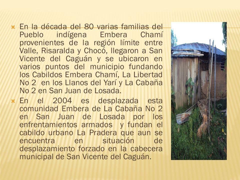 En la década del 80 varias familias del Pueblo indígena Embera Chamí provenientes de la región límite entre Valle, Risaralda y Chocó, llegaron a San V