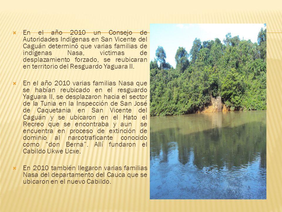 En el año 2010 un Consejo de Autoridades Indígenas en San Vicente del Caguán determinó que varias familias de indígenas Nasa, victimas de desplazamien
