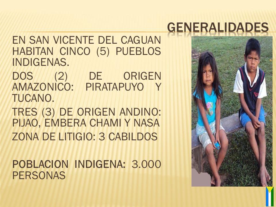 EN SAN VICENTE DEL CAGUAN HABITAN CINCO (5) PUEBLOS INDIGENAS. DOS (2) DE ORIGEN AMAZONICO: PIRATAPUYO Y TUCANO. TRES (3) DE ORIGEN ANDINO: PIJAO, EMB