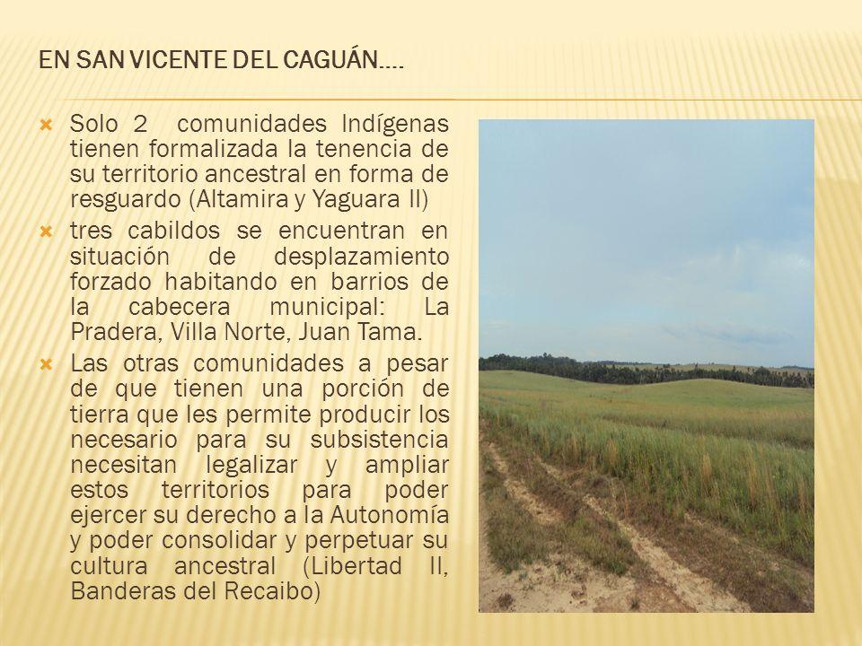 EN SAN VICENTE DEL CAGUÁN…. Solo 2 comunidades Indígenas tienen formalizada la tenencia de su territorio ancestral en forma de resguardo (Altamira y Y