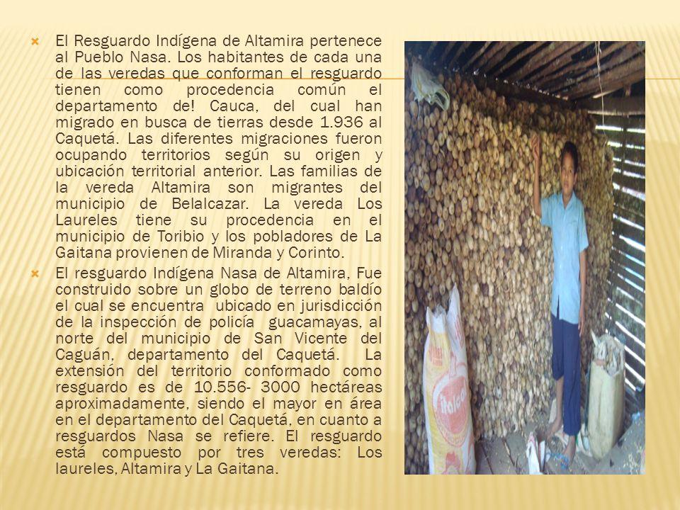 El Resguardo Indígena de Altamira pertenece al Pueblo Nasa. Los habitantes de cada una de las veredas que conforman el resguardo tienen como procedenc
