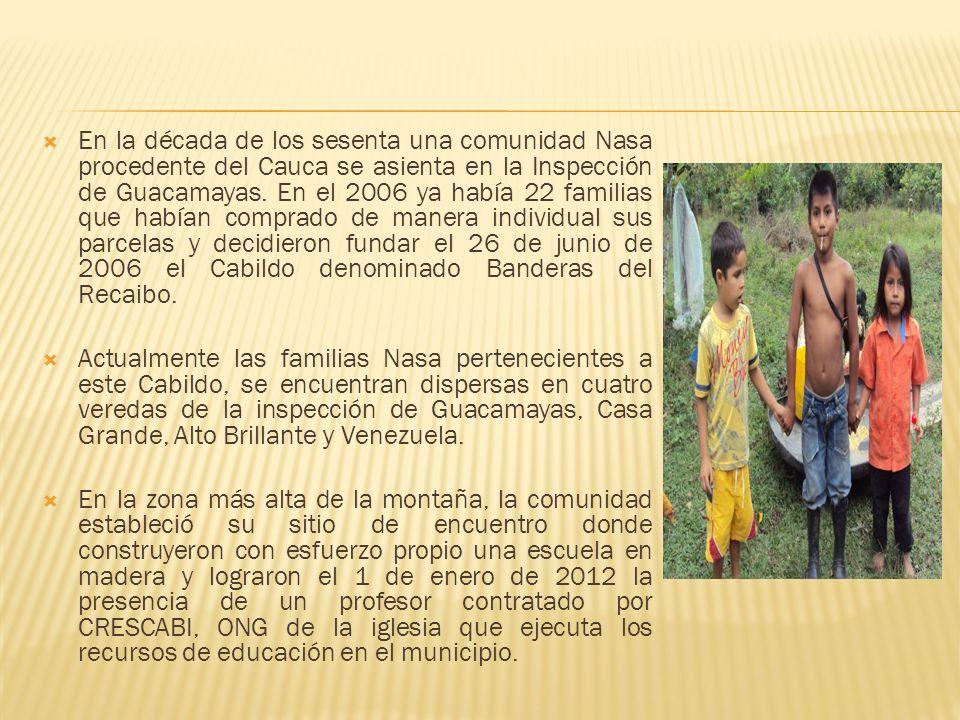 En la década de los sesenta una comunidad Nasa procedente del Cauca se asienta en la Inspección de Guacamayas. En el 2006 ya había 22 familias que hab