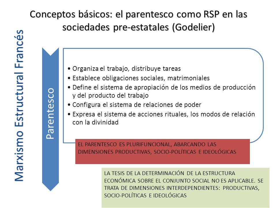 Conceptos básicos: el parentesco como RSP en las sociedades pre-estatales (Godelier) Marxismo Estructural Francés Parentesco Organiza el trabajo, dist