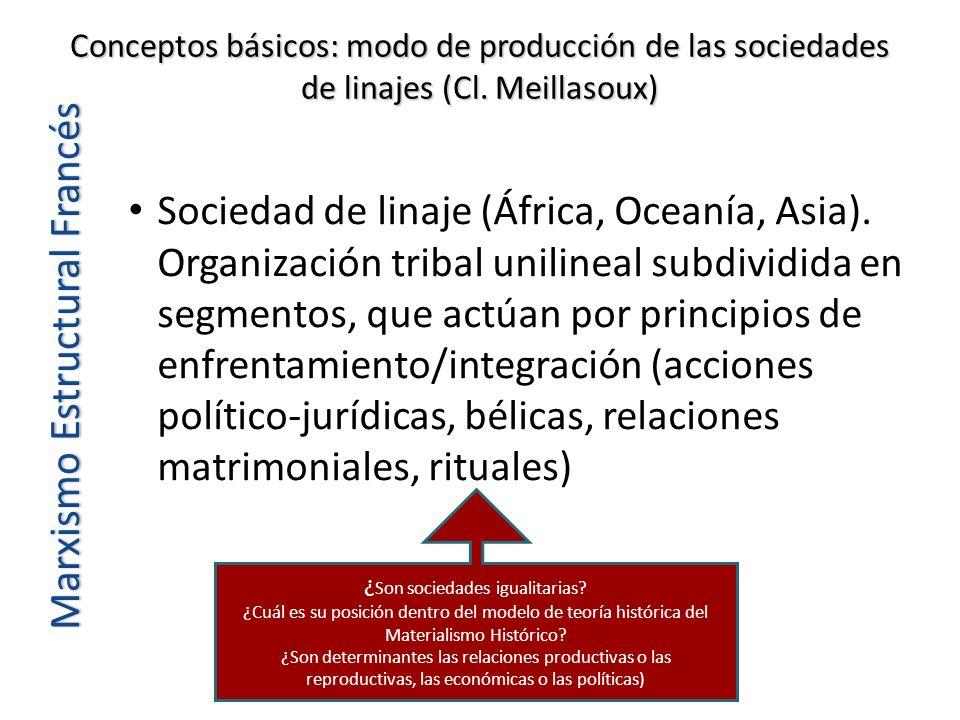Conceptos básicos: modo de producción de las sociedades de linajes (Cl. Meillasoux) Marxismo Estructural Francés Sociedad de linaje (África, Oceanía,