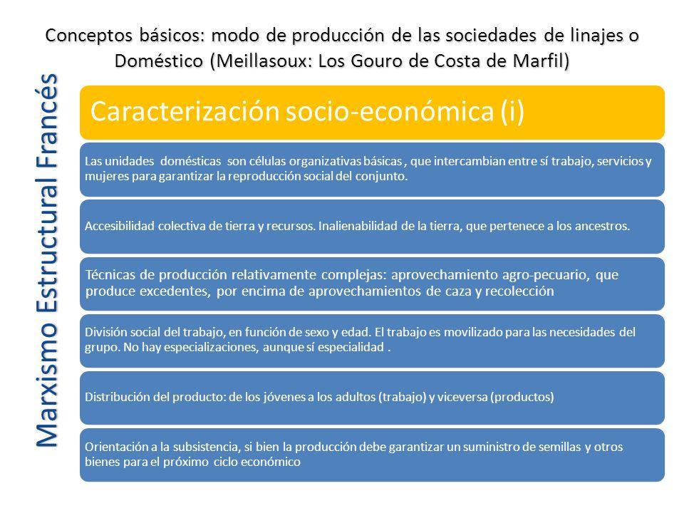 Marxismo Estructural Francés Caracterización socio-económica (i) Las unidades domésticas son células organizativas básicas, que intercambian entre sí
