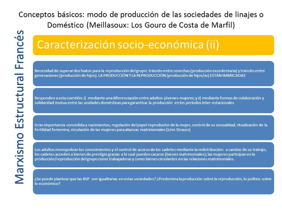 Marxismo Estructural Francés Caracterización socio-económica (ii) Necesidad de superar dos hiatos para la reproducción del grupo: tránsito entre cosec