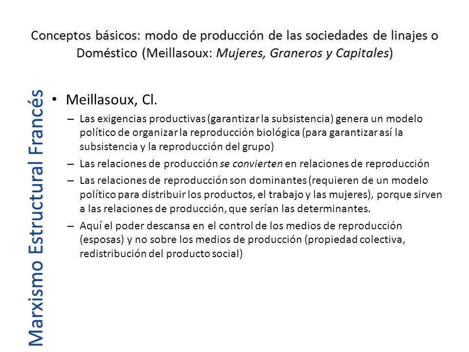 Conceptos básicos: modo de producción de las sociedades de linajes o Doméstico (Meillasoux: Mujeres, Graneros y Capitales) Meillasoux, Cl. – Las exige