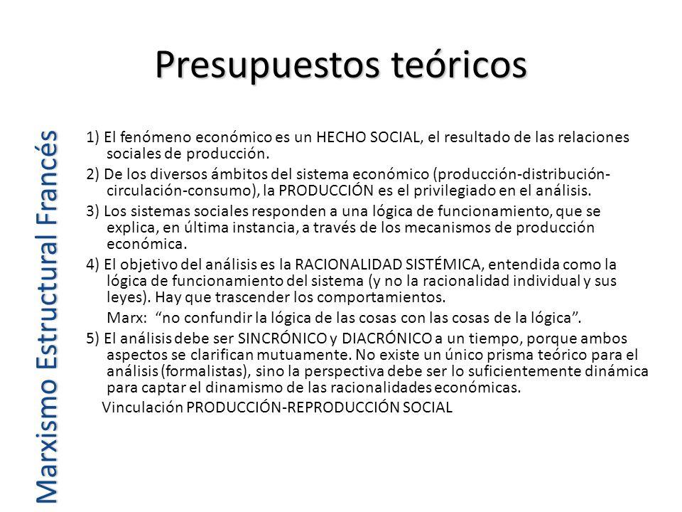 Presupuestos teóricos Marxismo Estructural Francés 1) El fenómeno económico es un HECHO SOCIAL, el resultado de las relaciones sociales de producción.