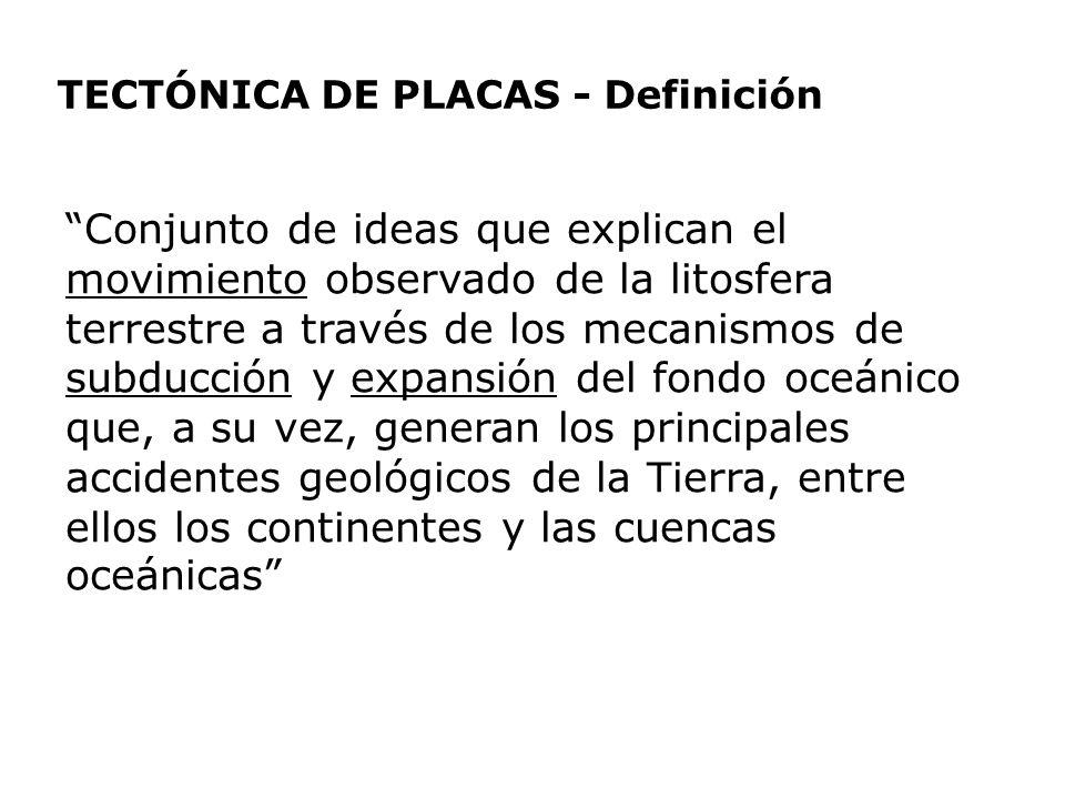 TECTÓNICA DE PLACAS - Definición Conjunto de ideas que explican el movimiento observado de la litosfera terrestre a través de los mecanismos de subduc